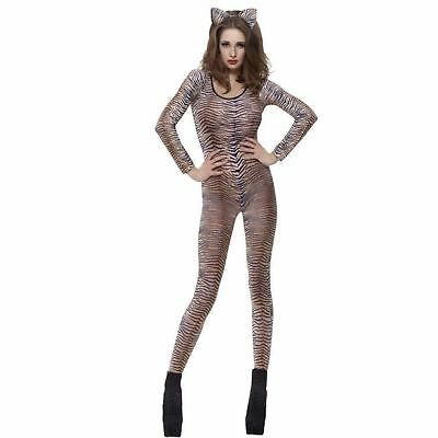 Adult Ladies Fever Tiger Print Animal Catsuit Fancy Dress Costume Body Suit Skin