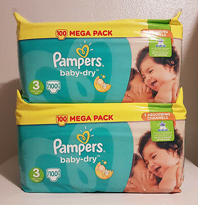 LOT DE 200 (2x100) COUCHES PAMPERS BABY-DRY TAILLE 3 MEGA PACK 5-9 kg NEUF