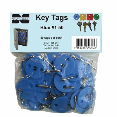 Numbered Key Tags #1-50 Blue Security Strong Plastic Key Tags 50 Pack Ships Free