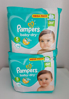 LOT DE 148 (2x74) COUCHES PAMPERS BABY-DRY TAILLE 5 MEGA PACK 11-16 kg NEUF