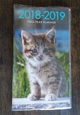 2018-2019 Kitten Cat Pet Animals 2-Year Pocket Planner Calendar Organizer Purse