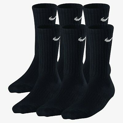 Nike Performance Cotton Cushioned 6-Pack Youth Crew Socks 3Y-5Y Black SX4456-001