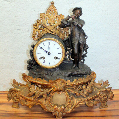 Antique 19th century French figural mantel clock Brass Gilded Clock S.Marti &Cié