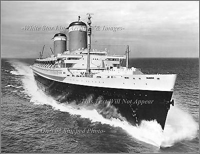 Photo: SS United States Leaves QM Riband Record In Rear View Mirror - July, 1952