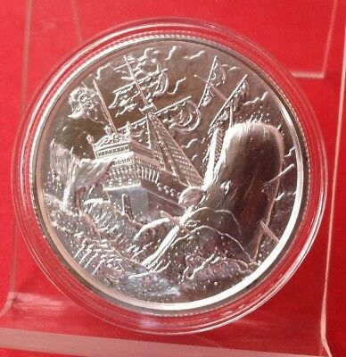 "2 Oz ""the White Whale"" Privateer No Prey No Pay Elemental Round .999 Fine Silver"