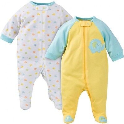 Gerber Baby Unisex 2 Pack Sleep N Play Size 3-6 Months NEW Elephant Design