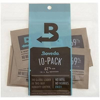 Boveda 62 Percent 62% RH 2 Way Humidity Control, 8 Gram 10 Pack