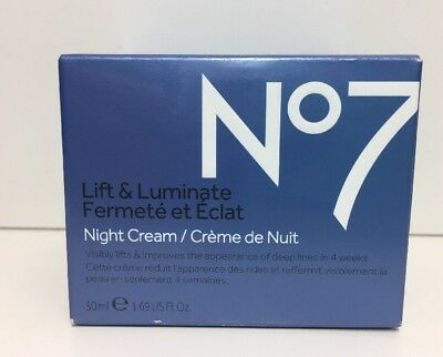 (New)  Boots No 7 Lift & Luminate Night Cream -  1.69 Fl. oz / 50ml