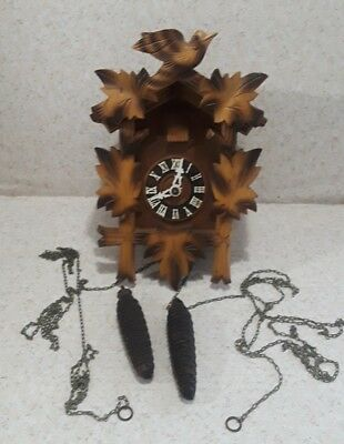 Vintage German Cuckoo Clock BLACK FOREST TWO TONE WOOD CooCoo ACORN WEIGHTS