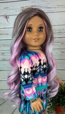 10-11 Custom Doll Wig fit Blythe American Girl 1/4 Size CHARCOAL MINT bn1