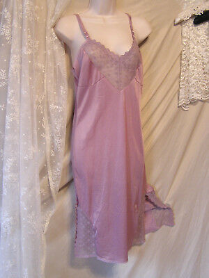 Beautiful Mauve Nylon Full Slip! Amazing Lace! Sexy Slits! No Brand Tag! 34? 36?