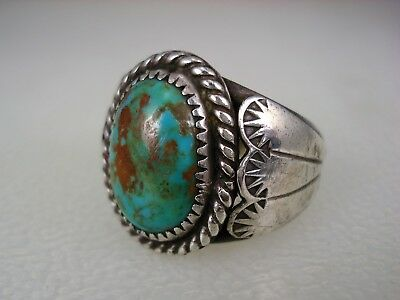 VINTAGE Foster Yazzie (d.) NAVAJO STERLING SILVER & TURQUOISE RING sz 9.25