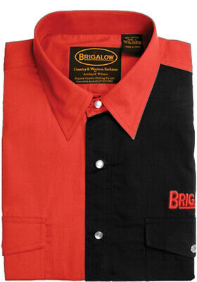 New Mens Two Tone Cotton Shirts-8008-A-Red/Black  Western Shirt Brigalow