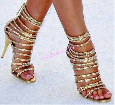Womens Sexy Wedding Bling Bling Strappy Rhinestone High Stiletto Heel Party Shoe