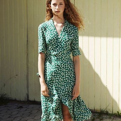 abd5238bc2d0e FRENCH STYLE GREEN sexy lady womens V-neck flower print dress ladies ...