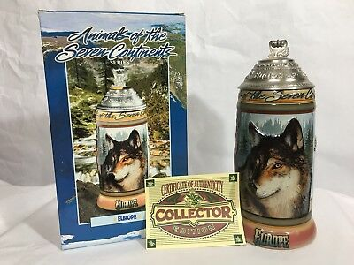 Animals of the Seven Continents Beer Stein Budweiser Series #7 Europe 2001 Wolf