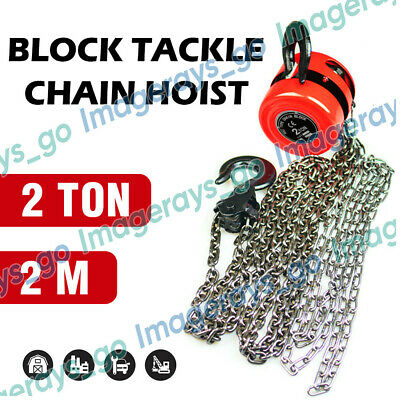 2 Ton Block and Tackle 2M Chain Block Hoist Crane Chain Lifting Pulley Tool NEW