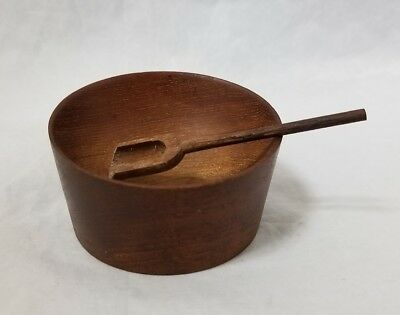 "Vintage Wooden Salt Bowl w Spoon Salt Cellar Dish 2.5""×1.5"" FREE SHIPPING"