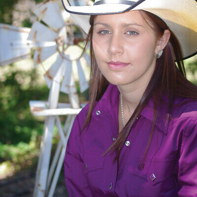 New  100% Cotton Solid Colour 4104-D-Plum Ladies Western Riding Shirts Brigalow