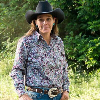 New  100% Cotton - Maroon/Silver Paisley - 4016A Ladies Western Riding Shirts Br