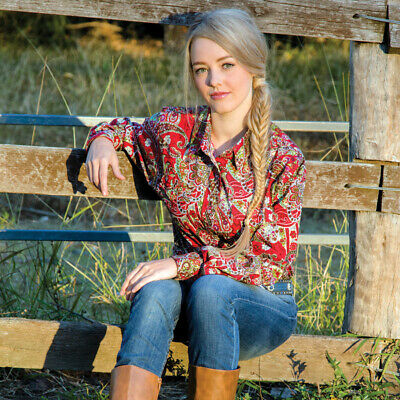 New  100% Cotton - Riverina Red - 4016E Ladies Western Riding Shirts Brigalow