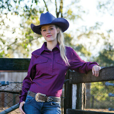 New Cotton Half Placket Work Shirt - 4002D-Plum Ladies Western Riding Shirts Bri