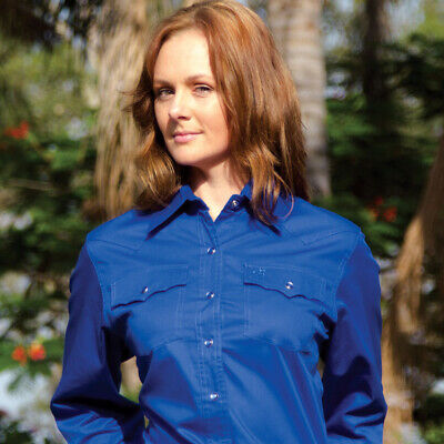 New  100% Cotton Solid Colour -4104-N-Royal Ladies Western Riding Shirts Brigalo