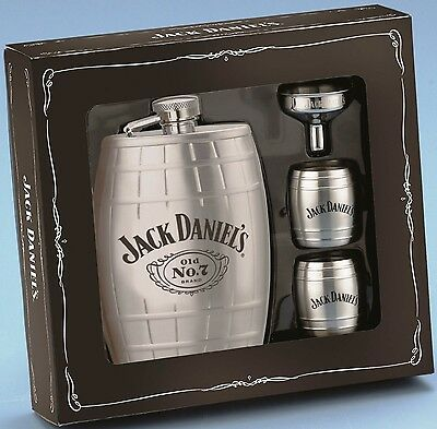 Jack Daniel's Barrel Flask Gift Set: Barrel Flask,  Barrel Shot Glasses & Funnel