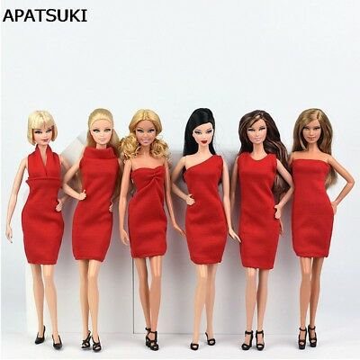 6pcs/lot Red Dress for Barbie Doll Clothes Evening Party Wears Short Dresses