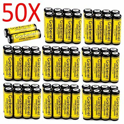 GARBERIEL 1200mAh 14500 Li-ion 3.7V Rechargeable Battery For Flashlight LOT