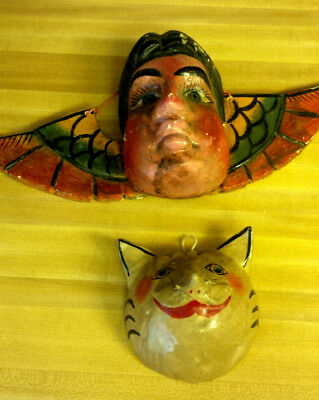 2 Interesting Old Mexico Folk Art Masks Wood Boy Face Wings and Gourd Cat Masks