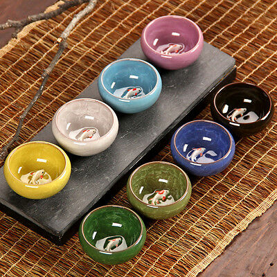 Colorful Ice-Crackle Porcelain 8 Colors Tea Cup With Fish Pattern Ceramic saucer