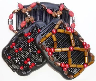 """Set of 3 Double Hair Combs, Angel Wings Clips 4x3.5"""",African Butterfly,Red/Black"""
