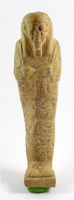 Egypt Late Period light olive-green glazed faience ushabti