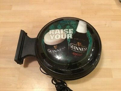 Raise Your Guinness Electric Beer Sign, Wall MountTwo SidedBar Light NEEDS FIX