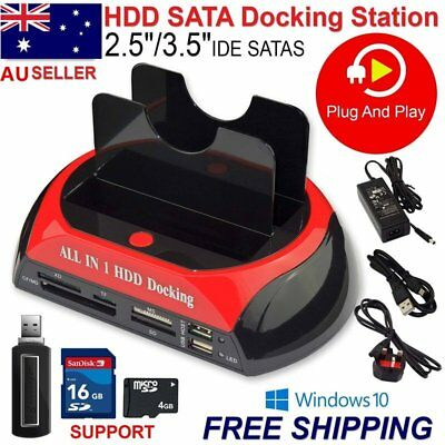 "2.5""3.5"" HDD Docking Station IDE SATA USB Hard Drive Card Reader Dock HUB lot GT"