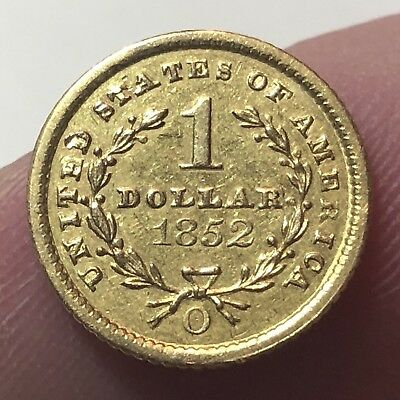 1852-O $1 GOLD PIECE Scarce New Orleans Minted HIGH-END Details OLD ESTATE FIND!