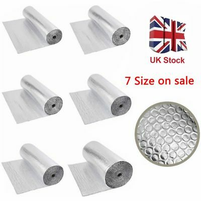 Double Foil Bubble Insulation Floor Wall Caravan Shed Loft Roof Aluminium Roll