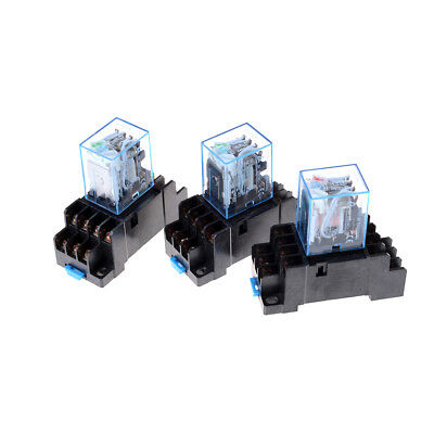 MY4NJ 12v/24v/220v Coil Power Relay DIN Rail Mounted 14 Pin 4PDT with Socket  R