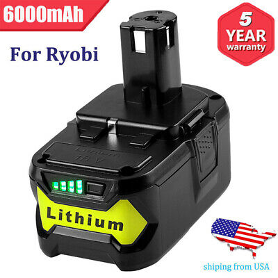 18Volt For Ryobi P108 One+ Plus P104 Li-ion High Capacity P104 18V Battery 6.0Ah
