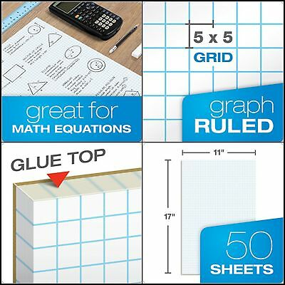 quadrille double sided pad graph data pad 11x17 white 4x4 quad rule