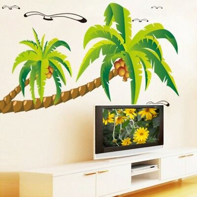 Coconut Palm Tree Sticker Tropical Beach Wall Decal Stickers Home Decor