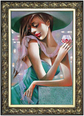 """Hand-painted Original Oil painting art Abstract girl On Canvas 24""""X36"""""""