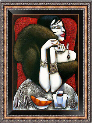 """Hand-painted Original Oil painting art Abstract girl On Canvas 24X36"""""""