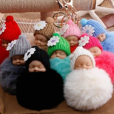 Cute Sleeping Baby Doll Keychain Rabbit Fur Ball Car Keyring Bag Car Key Pendant