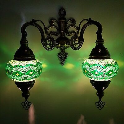 Handmade Turkish Moroccan Style Glass Mosaic Double Wall Light Lamp - UK SELLER