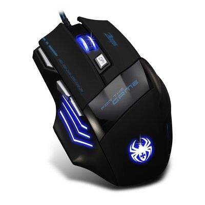 Zelotes 7200 dpi 7 Tasten LED optische USB Wired Gamer Maus Mouse für PC MAC