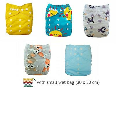 cloth nappy pack  - 5 pocket nappies with FREE small wet bag (30x30cm)