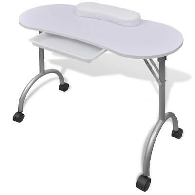 New Folding Manicure Table Nail Desk Portable Hand Rest With Castors Mobile I9Z9