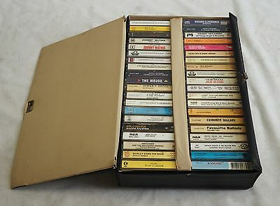 Bulk Lot of 40 Vintage Music Tapes Popular Jazz Ballads Folk Country etc In Case